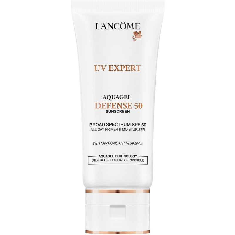 UV Expert Aquagel Defense SPF50 by Lancome, the best French sunscreen under makeup.
