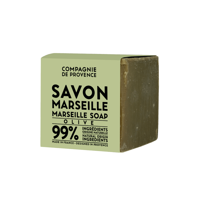 Savon de Marseille Soap Cube (Olive) by Compagnie de Provence, a variation of the previous French milled soap.